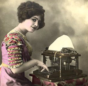 Vintage photo of girl typing